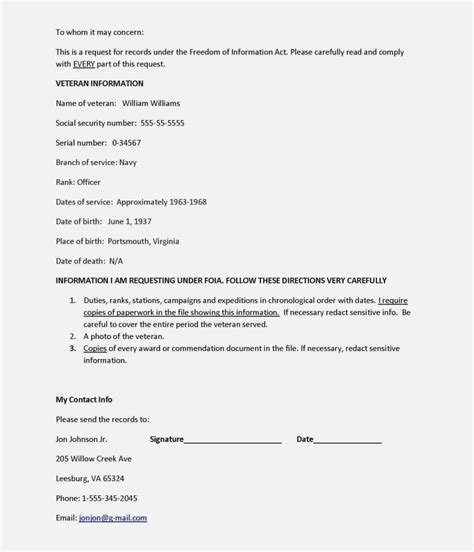cover letter for requested documents requesting information from a service record