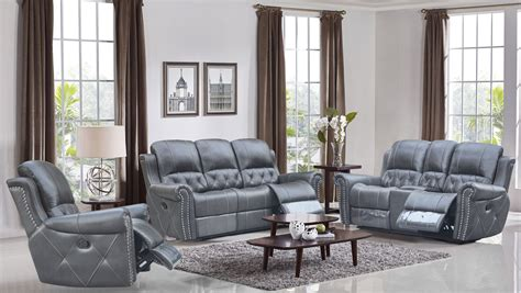 Grey Leather Set by Reclining 3 Pc Sofa Set Leather Air Code G12
