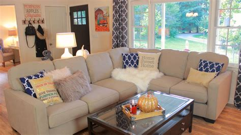 how to decorate my room decorating my living room for fall fall living room tour youtube
