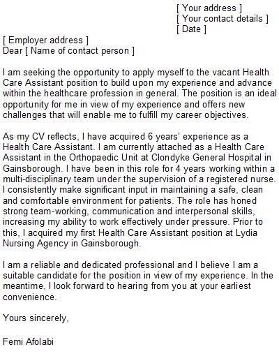 Cover Letter For Care Assistant by Health Care Assistant Cover Letter Sle