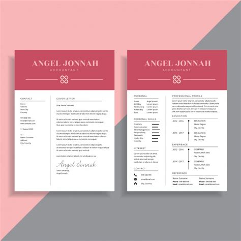 2 Page Resume Template by Professional 2 Page Resume Cv Template Design Vector