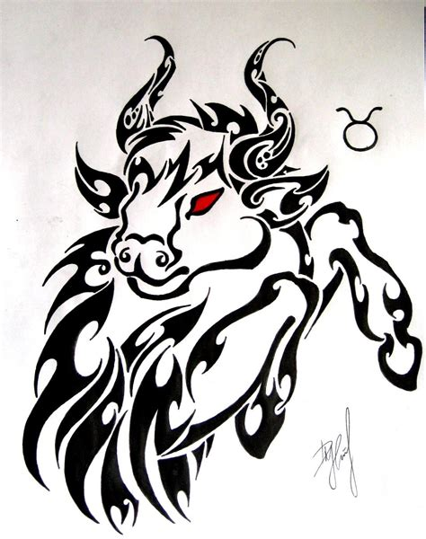 tribal bull tattoo designs zodiac tattoos and designs page 146