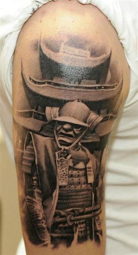japanese house tattoo real photo like black and white samurai warrior on