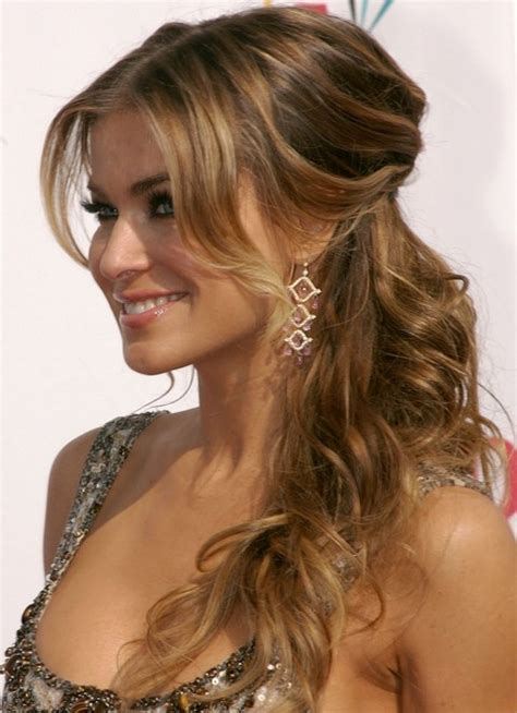 hairstyles half up half down how to carmen electra hairstyles curly half up half down