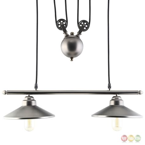 Pulley Ceiling Light Innovations Industrial Pulley System Inspired Steel Ceiling Fixture Silver