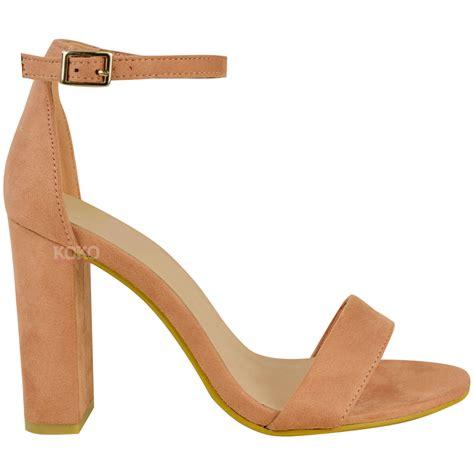 Heels K0193 Open Toe womens block high heels ankle open toe sandals shoes size new ebay