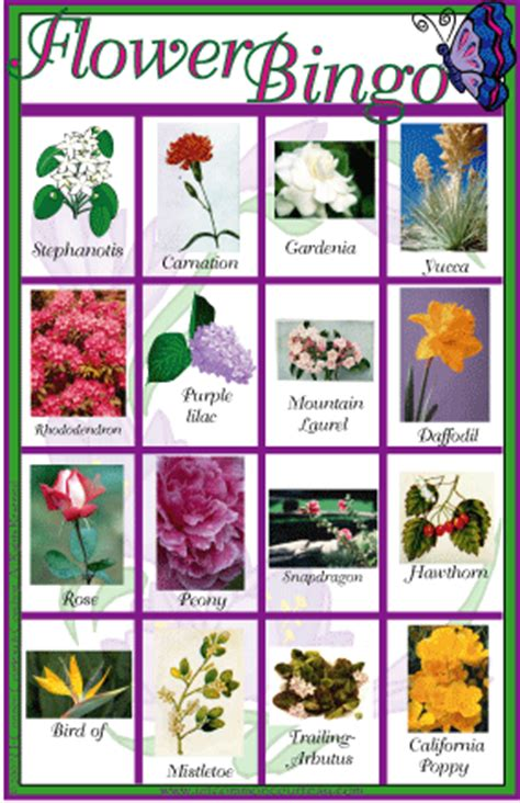 printable games about flowers flower bingo uncommon courtesy