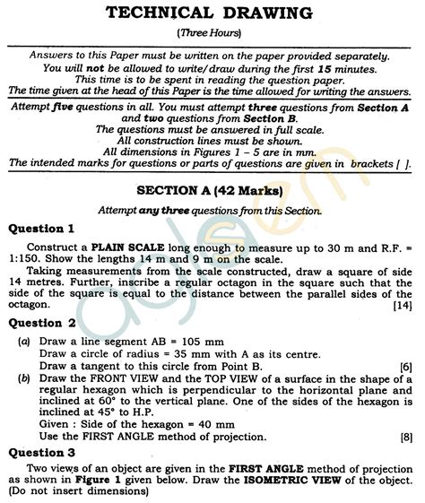 technical writing question paper icse class x question papers 2012 technical drawing