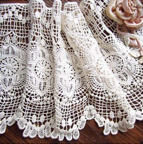 pattern of vintage crochet lace in an ecru color crochet cotton lace trim vintage style fabric trim lace