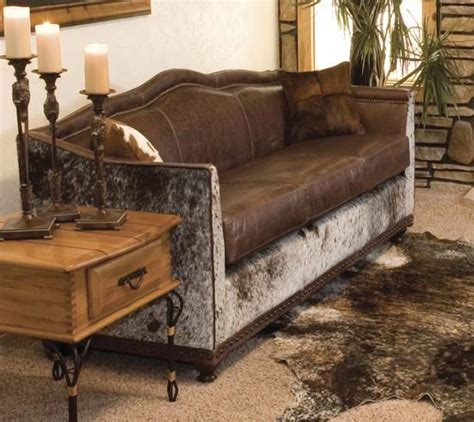 cowhide living room furniture beautiful cowhide and leather wyoming western sofa from western ranch house decor