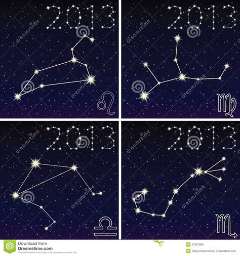 constellation of leo virgo libra scorpius stock photos