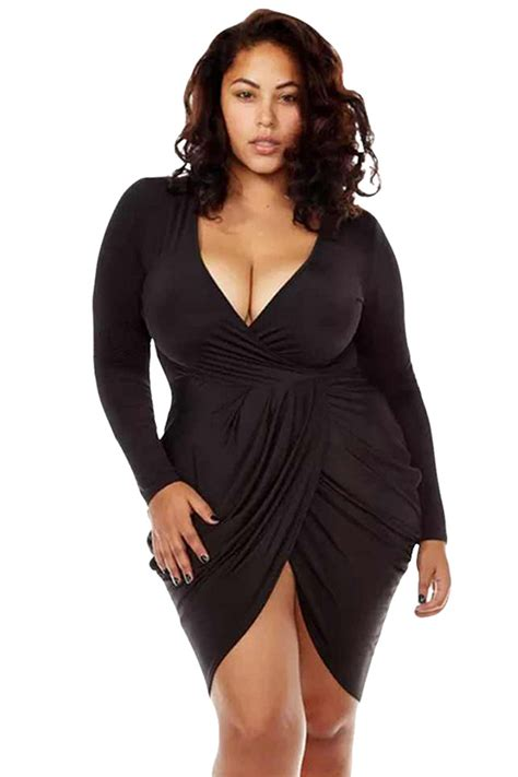 Dress Model White 2in1 Style Impor womens v neck ruched sleeve plus size dress black pink