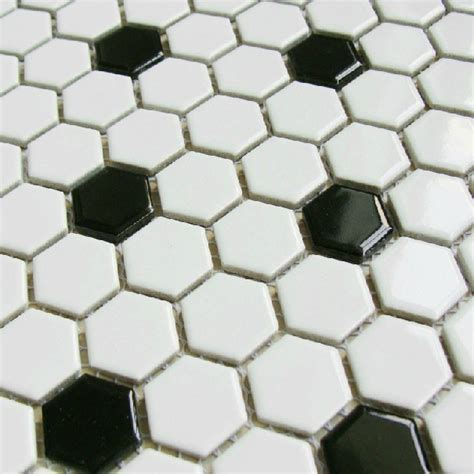 black and white hexagon mosaic porcelain tiles ceramic mosaic kitchen backsplash bathroom wall