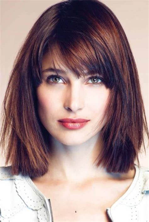 above shoulder tapered around face hairstyle the best side swept bangs for square face shape hair