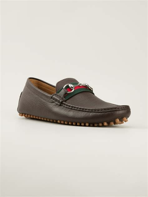 gucci loafers gucci horsebit loafers in brown for lyst