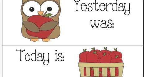 Tomorrow Calendar Classroom Freebies Calendar Cards For Yesterday Today