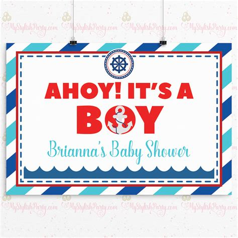 ahoy boy baby shower ahoy it s a boy baby shower backdrop or poster boy baby