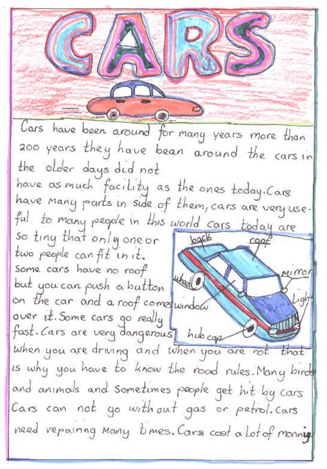 Car Essays by Cars Essay Exle Student Activity