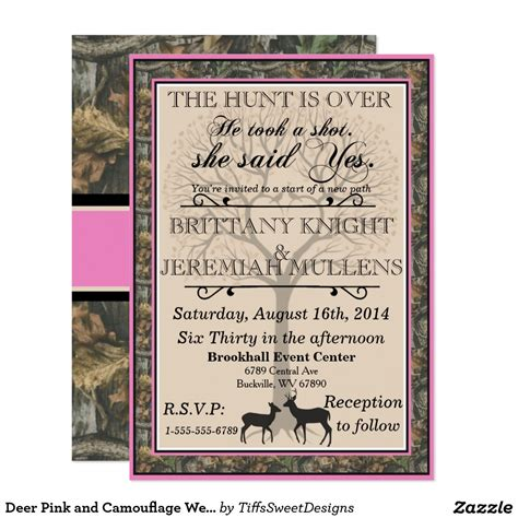 Deer Pink And Camouflage Wedding Invitation Wedding Camo Wedding And Weddings Camouflage Wedding Invitations Templates