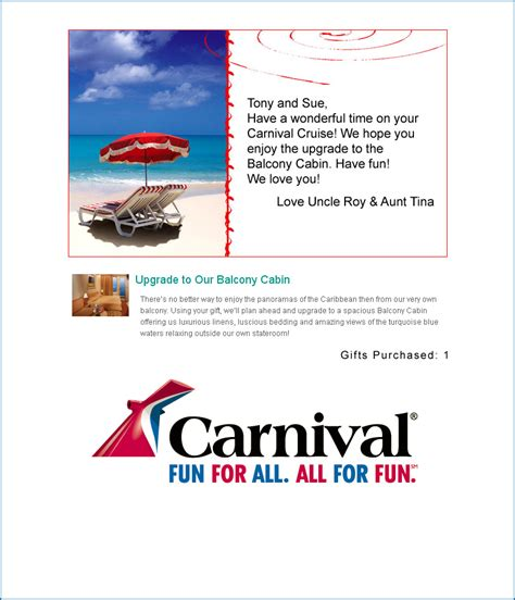 Carnival Gift Card - carnival gift registry couple search