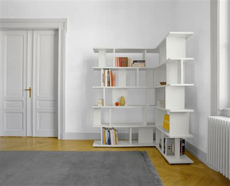 creative white l shaped book shelf corner placed bedroom