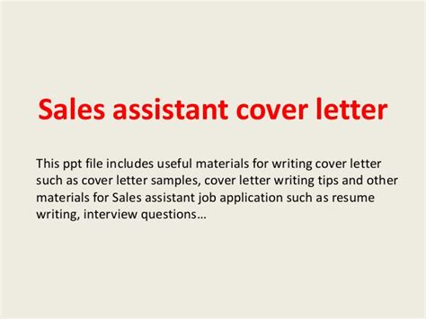 Cover Letter Tips And Sles Sales Assistant Cover Letter