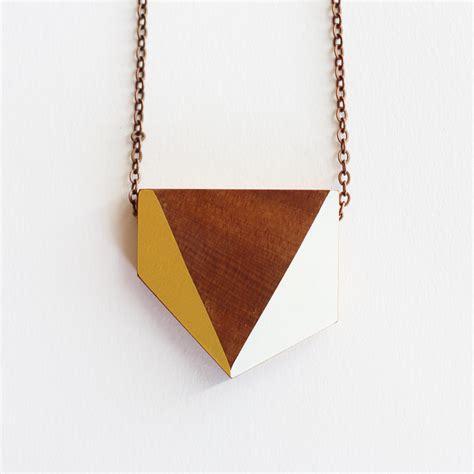 geometric wooden necklace felt
