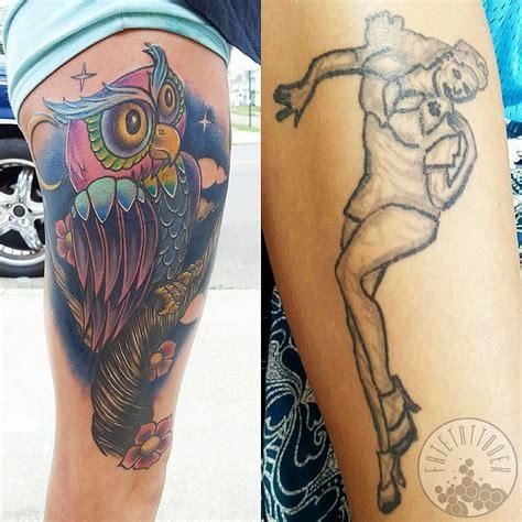 big thigh tattoos fatetattooer thigh cover up i did color owl cover up