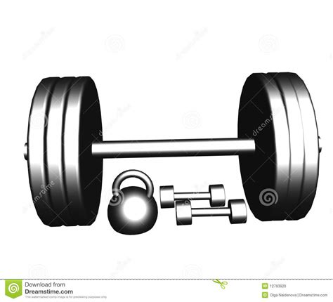 Dumbbell Dan Barbel steel dumbbells and barbell stock photo image 12793920