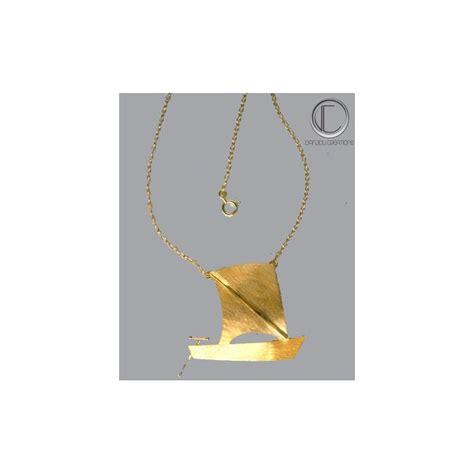 skiff gold skiff quot yole quot necklace gold 750 1000 bijoux antilles