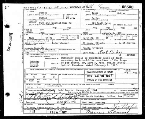 Records Of Deaths Jfk S Assassination In New Historical Records