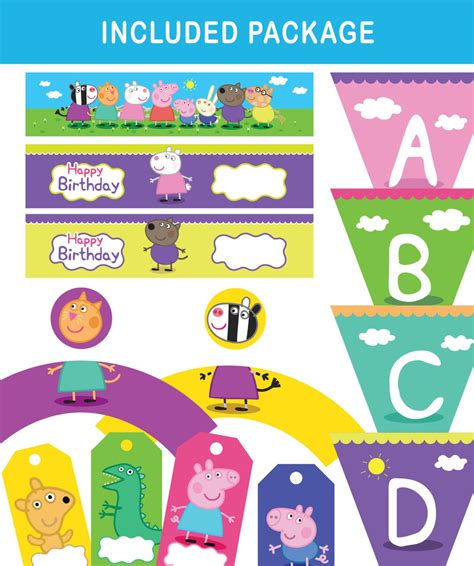 printable peppa pig party decorations printable party set peppa pig party kit party pack