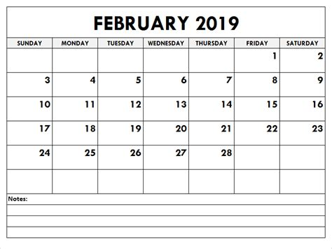february  calendar excel printable blank template  holidays