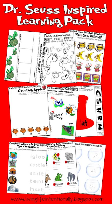 dr seuss printable preschool activities free seussical learning pack