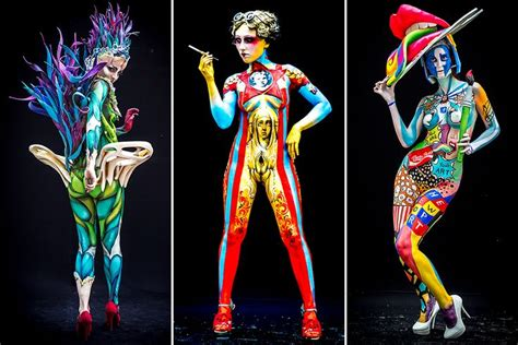 world painting festival pã rtschach models covered only in paint compete at the 17th world