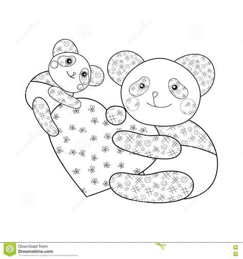 Panda Avec La Page De Livre De Coloriage D Enfant De Coeur S Coloriage Joyeux Anniversaire TataL