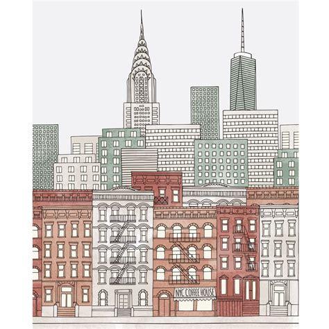 sketchbook new york colorful new york city sketch printed backdrop backdrop