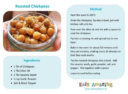 printable simple recipes easy recipes for kids roasted chickpeas eats amazing