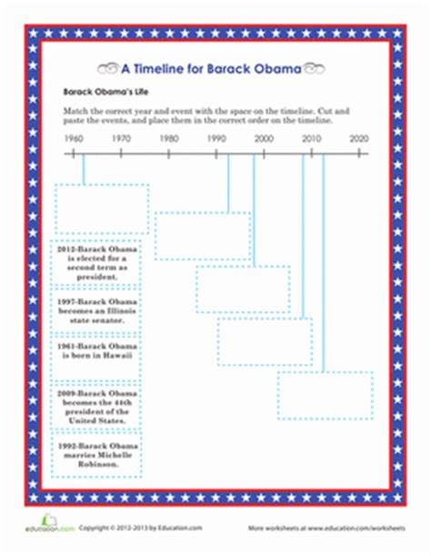 biography barack obama timeline barack obama timeline worksheet education com