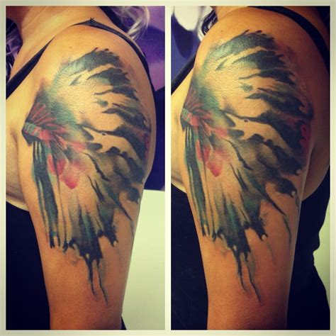 watercolor tattoo tulsa watercolor headdress by tony at pen and ink