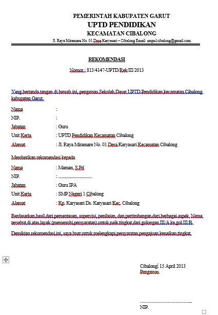format surat kenaikan gaji berkala pns contoh surat resmi untuk rekomendasi kenaikan gaji