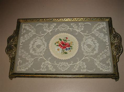 embroidered glass and filigree vanity tray vintage