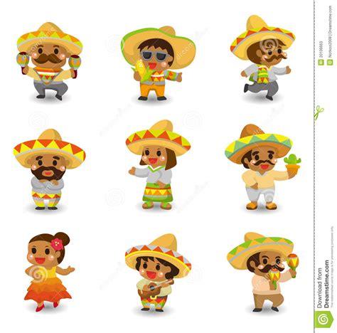 hispanic pictures mexican icon set stock vector