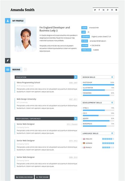 Resume Theme by 50 Best Vcard Resume Themes 2018 Freshdesignweb