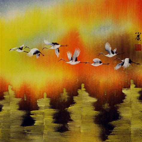 asian painting images cranes taking flight in autumn asian painting