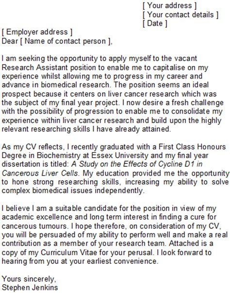Cover Letter For Biochemist Position by Research Assistant Covering Letter Sle
