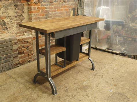 industrial kitchen island hand made modern industrial kitchen island console table