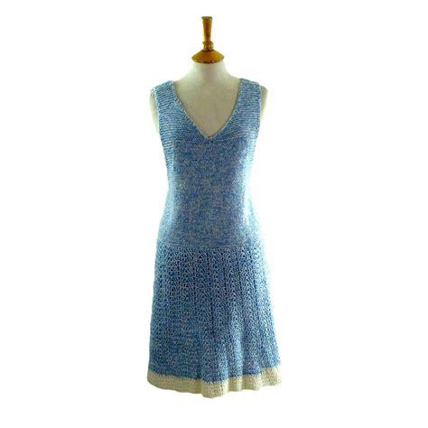 70s crotchet dress blue 17 vintage fashion
