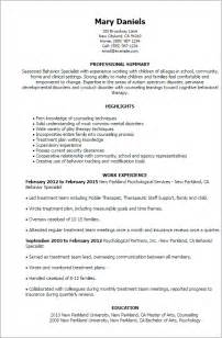 Child Psychologist Sle Resume by Professional Behavior Specialist Templates To Showcase Your Talent Myperfectresume