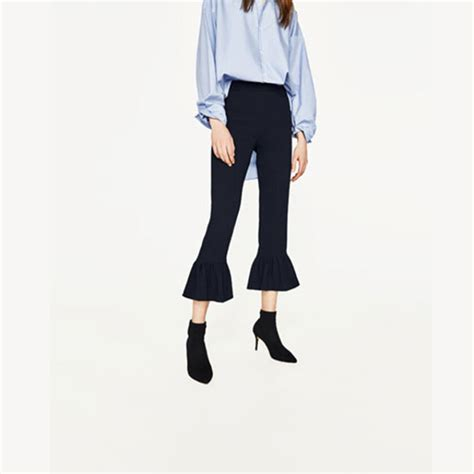 Jual Hem Navy jual zara frilled hem cropped trousers navy s fashion market